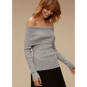 Aritzia Wilfred Croquis Sweater Top Ribbed Grey M